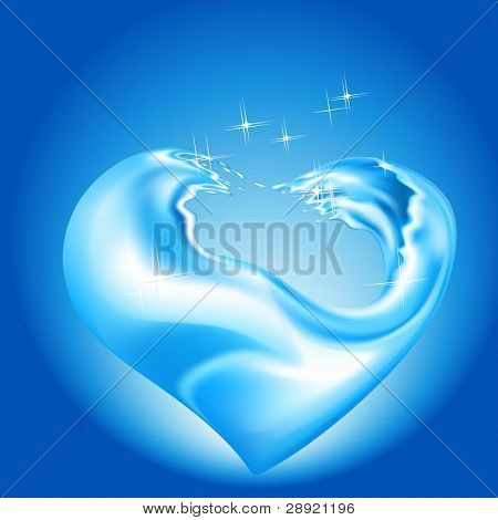 Water splash with heart shape