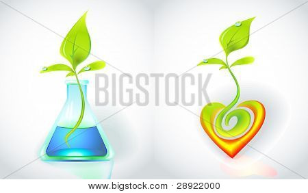 Eco-icon with green sprout