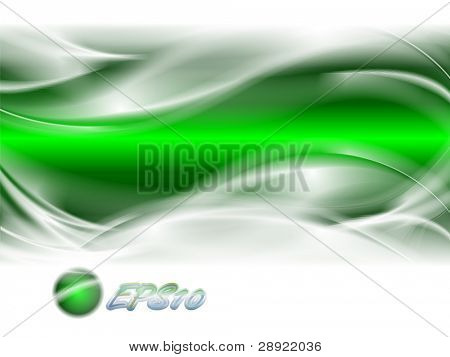Abstract background green strip with white waves