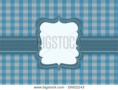 label on blue tile background