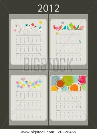 calendar 2012. Three month per page, design flowers and birds