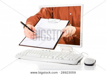 A man from inside computer's screen is asking for your signature.