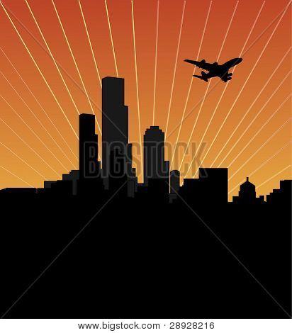 Skyline der Stadt bei Sonnenuntergang oder Sunrise, dunkle Stadt