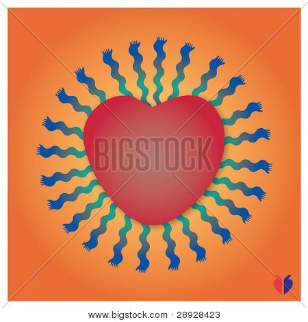 heart and figure like as sun on a orange background