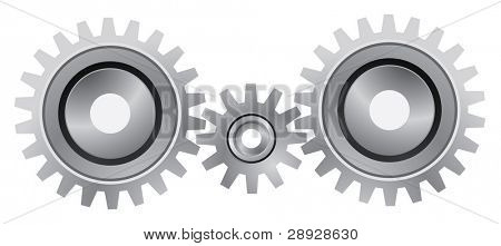 Silver gear set on the white background