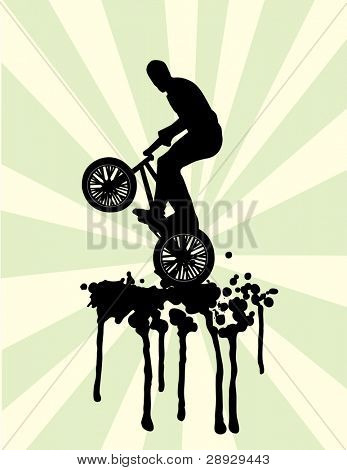 Bmx jump on splash in black and green vector illustration