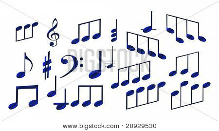 set of musical symbols on a white background.