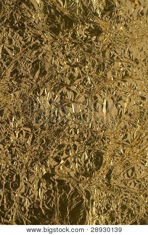 texture of golden foil close up view