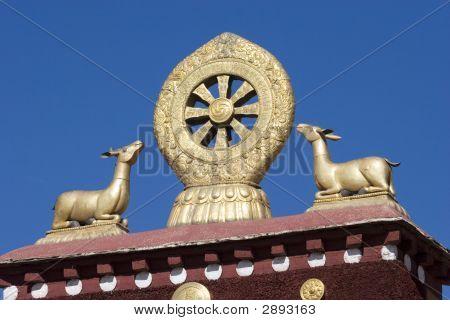 Deer And Eternal Wheel In Tibet
