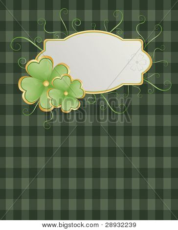 Patrick's theme with shamrock on green square background and swirls