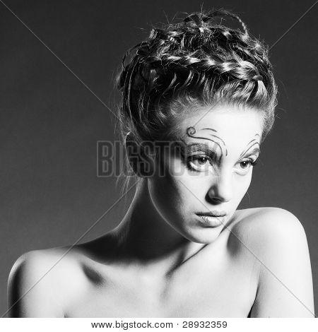 Black And White Fashion Portrait Of Beautiful Woman