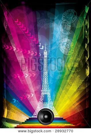 card with eiffel tower and neon lights on a rainbow background
