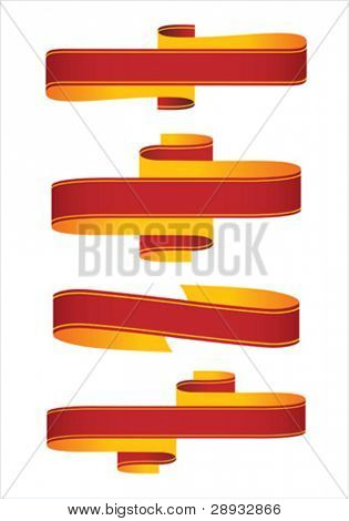 Vector illustration of a collection of ribbons, scrolls, banners