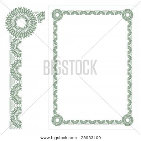 Certificate guilloche border for diploma or certificate - editable vector illustration.