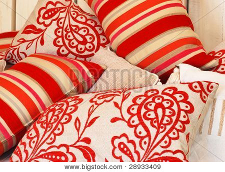 photo of beautiful funky colorful pillows