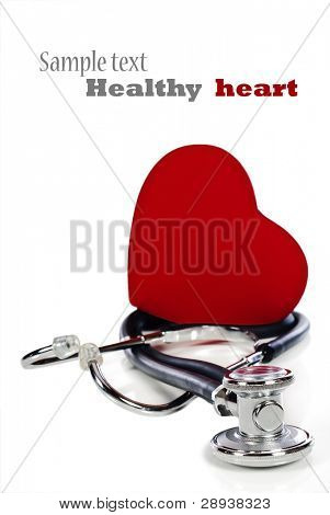 a Doctor's stethoscope with a healthy red heart balalced on it - pure white bakcground with space for text