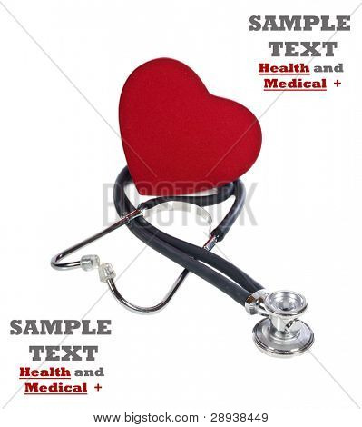 a Healthy red heart balanced on a doctor's stethoscope on a white background with space for text