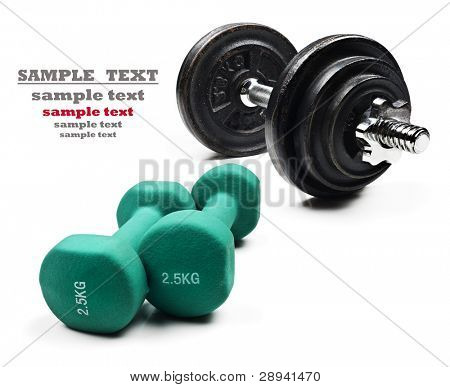 Green and black dumbbells on a pure white background with space for text