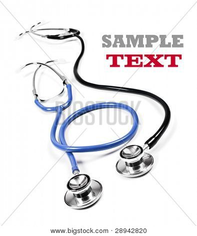 Close up of a doctor's stethoscopes in black and blue on a white background with space for text
