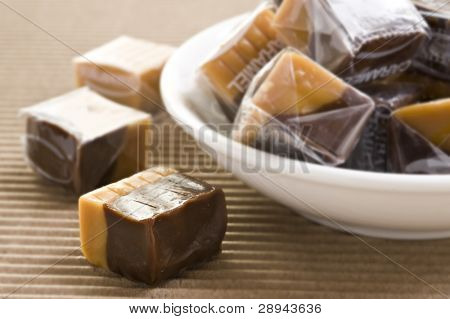 Cream caramel and chocolate sweets