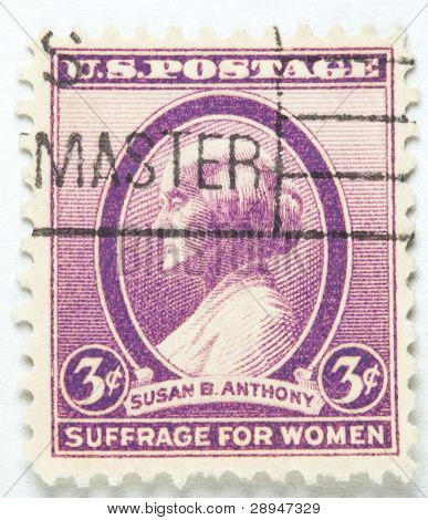 stamp printed by USA shows a profile of Susan B Anthony, circa 1936.