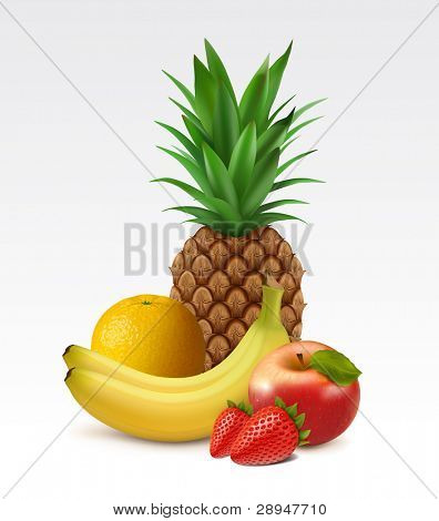 Ripe pineapple, orange, bananas, apple and strawberries
