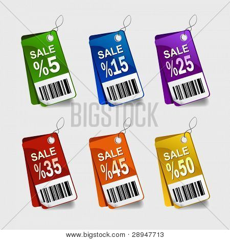 Vector illustration of multicolored sale labels