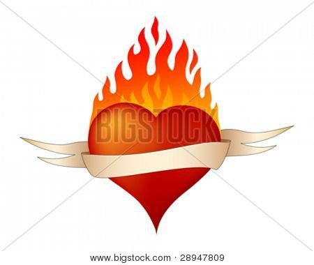 Illustration of burning heart. Banner can be removed.