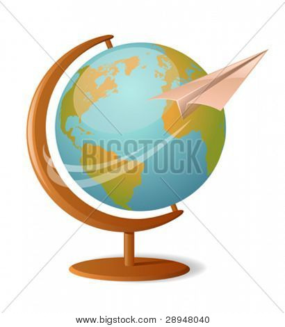 Vector illustration of a globe with paper plane