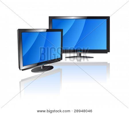 Vector illustration of LCD displays. Both displays can be used separately.
