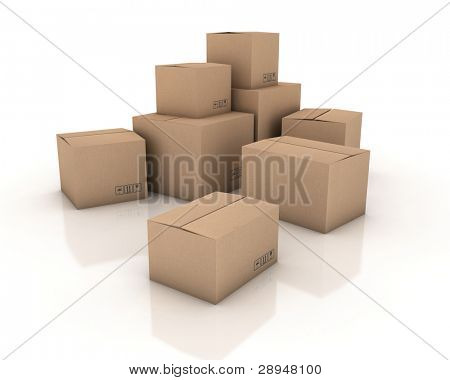 Cardboard boxes. 3D generated image