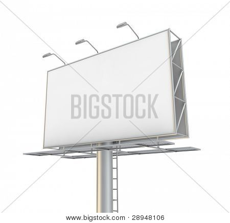 Blank billboard. 3D generated image.