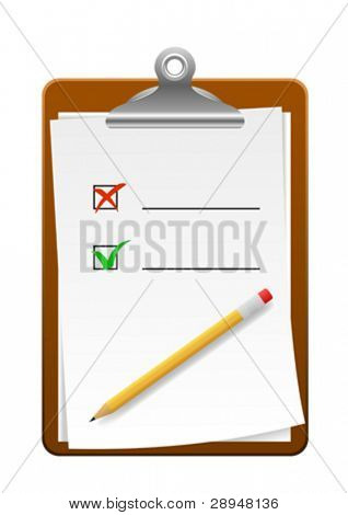 Vector illustration of a clipboard with check marks.