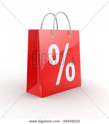 Red shopping bag on white background. Computer generated image.