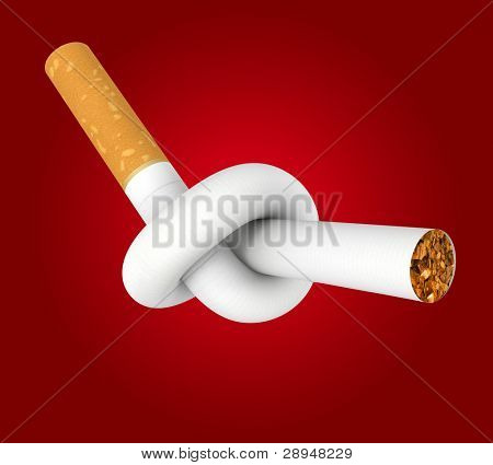 Cigarette tied to a knot. Computer generated image. Clipping path included.