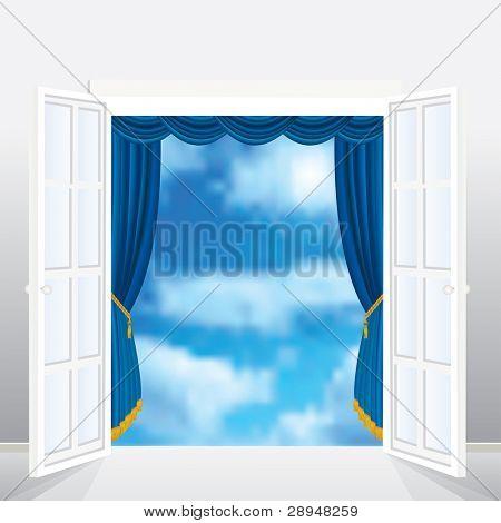 abstract Vector Komposition bei französische Fenster und Vorhang