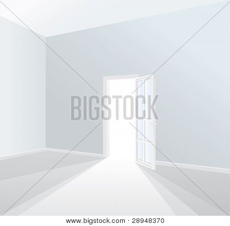 Vektor geöffnete Tür in leeren weißen Raum