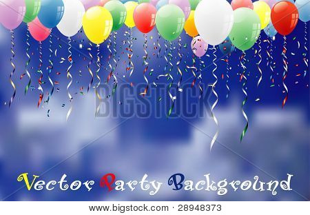 vector party background with confetti and balloons on cloudy sky