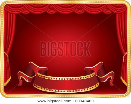 vector perforated red blank banner on horizontal stage with red curtain