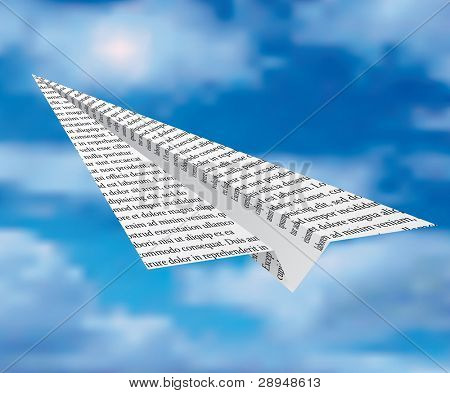 vector newspaper plane on cloudy sky