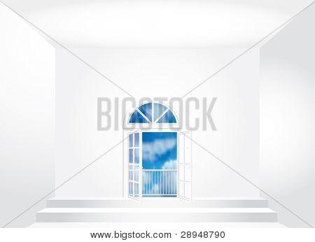 Vektor leeren Raum mit geöffneten Türen
