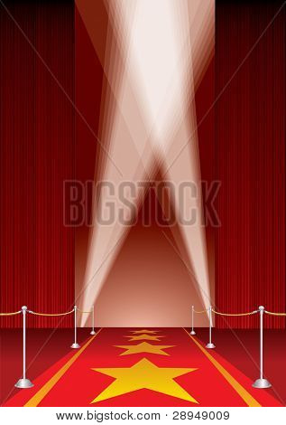 vector opened stage with red curtain and stars on red carpet