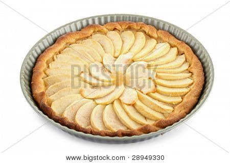 isolated apple tart on white background