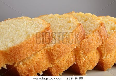 close up on pound cake
