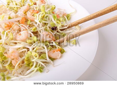 plate of shrimp, soyabean and chopsticks