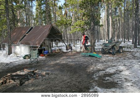 Hunting Camp In The Big Horn Mountains In October