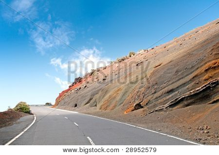Road through the Muti-Layered Colorful Soil at Tenerife island, El Teide National Park, Spain