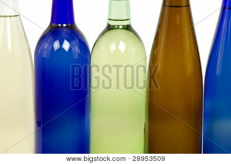 Detail of Wine Bottles with White Background