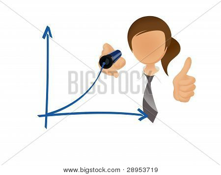 Businesswoman drawing graph / chart on white background