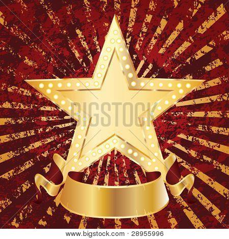 Golden Stern auf Grunge Textur mit leer banner
